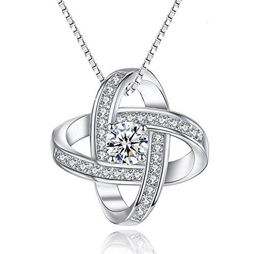 Joyfulshine 925 Sterling Silver Cubic Zirconia Pendant Necklace Eternal Love Necklace