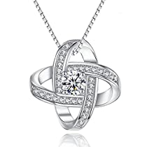 Joyfulshine 925 Sterling Silver Cubic Zirconia Pendant Necklace Eternal Love Necklace