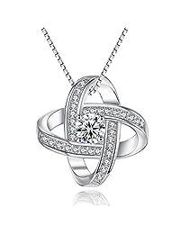 Joyfulshine 925 Sterling Silver Cubic Zirconia Pendant Necklace Eternal Love Necklace for Woman Girls