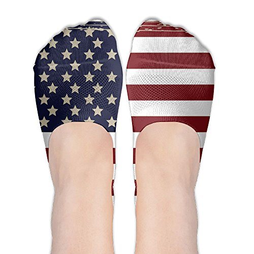 Vintage America Flag Fun Womens Athletic Non Slip Ankle Compression Low Cut Loafer Socks For Yoga Train Hiking Cycling Running Sports - Copenhagen Times Up Vintage