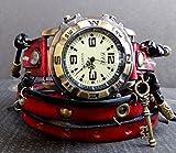 Womens leather watch, Red Wrap around Watch, Bracelet Watch, Leather Wrist Watch, Red and Black Watch