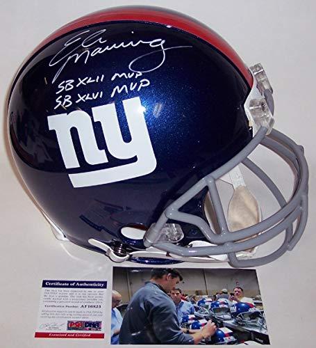 Eli Manning Autographed Hand Signed New York Giants Full Size Authentic Football Helmet - SB XLII, XLVI MVP Inscriptions - PSA/DNA