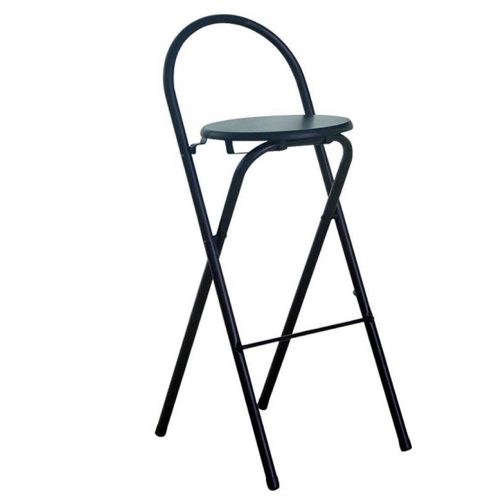 HETAO Simple bar chair High chair Folding chair stool Dining chair armchair Portable thick adult chair Household 45.5 X 36 X 75cm, black