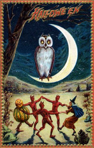 Vintage Halloween Poster Made From Circa 1910 Postcard Dancing Devils & Witch