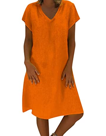 d8ffc799f2 Uscharm Solid Color Dress Women Summer Style Knee Length Casual Plus Size  Ladies Short Sleeve Dress
