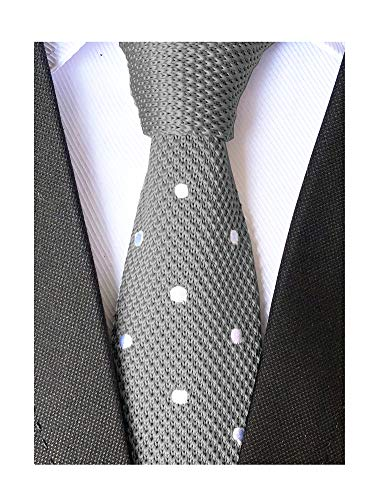 Secdtie Men Casual Woven Neck Tie Silk Knit Grey Formal Party New Winter Necktie