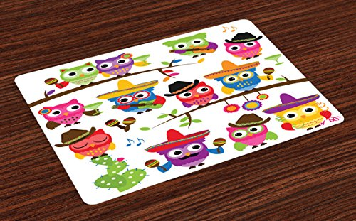 Lunarable Owls Place Mats Set of 4, Group of Cowboy Cowgirl Owls with Hats Guitars Cactus Cinco de Mayo Themed Art, Washable Fabric Placemats for Dining Table, Standard Size, Orange Pink
