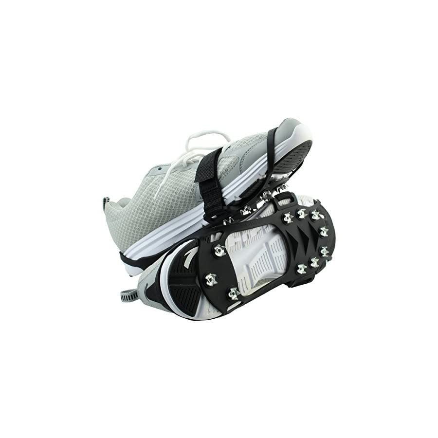 PONIXA Traction Cleats, Ice Snow Grips Full sole with 10 Manganese Steel Claws, Proven for Ice and Snow Terrain