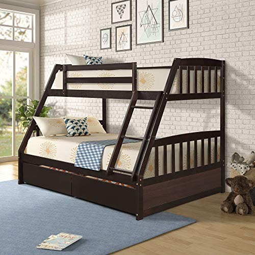 Merax Solid Wood Twin Over Full Bunk Bed with Two Storage Drawers and Removable Ladder, Espresso