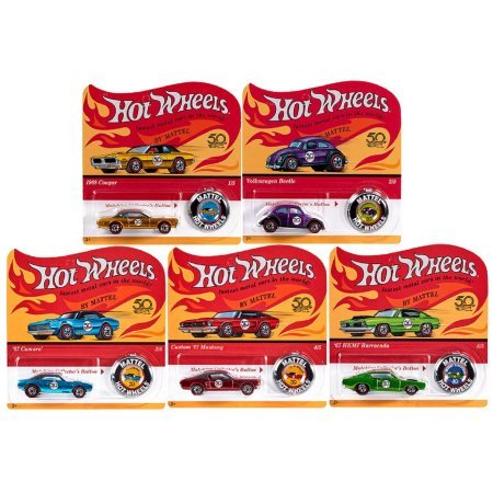 Complete Set Hot Wheels 50th Anniversary Originals of 5 cars with 50th Anniv. Button