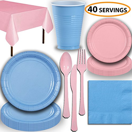 Disposable Party Supplies, Serves 40 - Light Blue