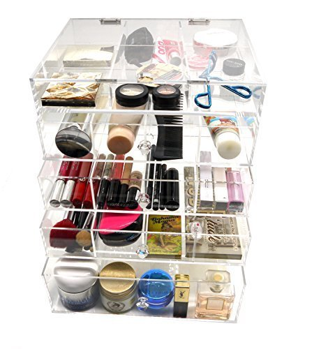 PuTwo Makeup Organizer Kardashian Inspired 5mm Thick Acrylic Makeup Storage Cosmetic Organizer 4 Drawers, 200.36 Ounce