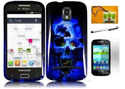 LF Designer Hard Case Cover, Lf Stylus Pen, Screen Protector & Wiper Bundle Accessory for T-Mobil Samsung Galaxy S Relay 4G T699 (Blue Skull)