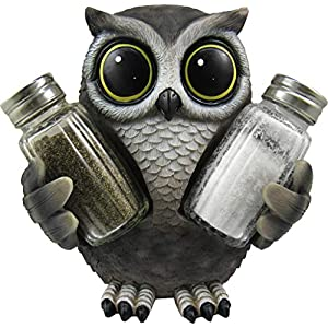 """DWK """"Little Hoot's Spice """" Owl Spice Holder with Salt And Pepper Shaker Set (3 Piece)   Kitchen Décor and Accessories   Salt and Pepper Shakers   Home Décor   Owl Home Decorations – 5″"""