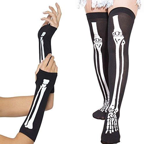SIBOSUN Halloween Costume Women's Skeleton Fingerless Gloves & Stockings Party (1 Fingerless Gloves & ()