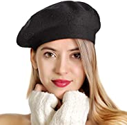 LADYBRO Beret Hats for Women Rhinestones 2 Layers Wool French Hat Lady Winter Black Red