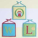Owlphabet Hanging Initials (Set of 3) Color: Sage