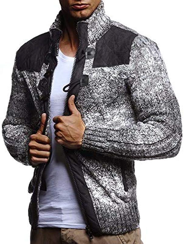Leif Nelson LN20739 męska kurtka z dzianiny z kołnierzem stÓjką, krÓj slim fit, zimowa kurtka na czas wolny, na lato, nowoczesna, męska, z grubą dzianiną: Odzież