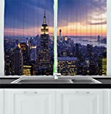 new york cafe - Modern Decor Kitchen Curtains by Ambesonne, New York City Skyline with Skyscrapers at Sunset Night American Town Image, Window Drapes 2 Panels Set for Kitchen Cafe, 55W X 39L Inches, Blue Orange