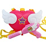OLizee Super Cute Kids Girls Pink Angel Heart Backpack Water Gun Soaker Squirt Gun