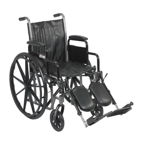16 Inch Wide Drive - Drive Medical Silver Sport 2 Wheelchair with Various Arms Styles and Front Rigging Options, Black, 16 Inch