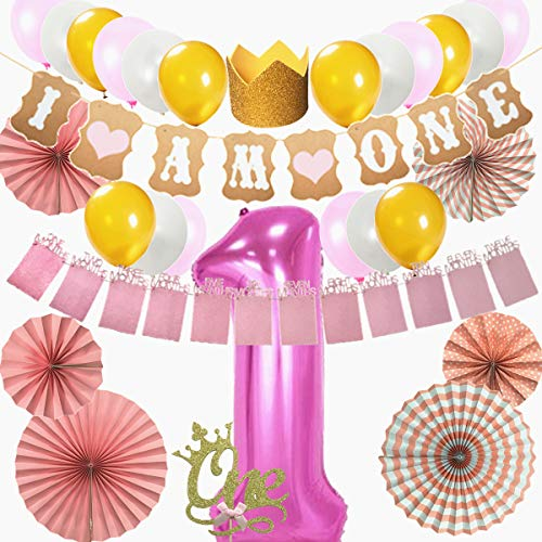 First Birthday Decoration Set for Girl 1st Baby Shower Party