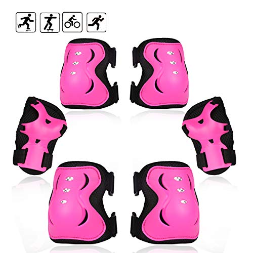 eNilecor Kid's Inline Skating Roller Blading Wrist Elbow Knee Pads Blades Guard Gift for Children's Day, Christmas Pack of 6(M,Hot Pink)