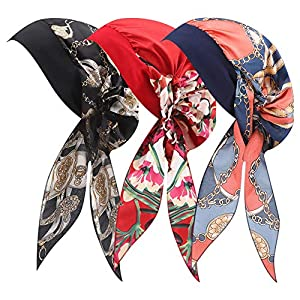 Best Epic Trends 510Y6LuJZ-L._SS300_ SUSSURRO 3 Pieces Chemo Hat Headwear Turban Silky Turbans Chemo Head ScarfCancer Hats ScarfPre-Tied Headwear Bandana for Women and Girls