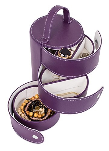 (Internet's Best Faux Leather Tower Jewelry Box Organizer - 3 Tiered Drawers with Multi Compartments for Rings, Earings, Small Bracelets & Necklaces - Purple)