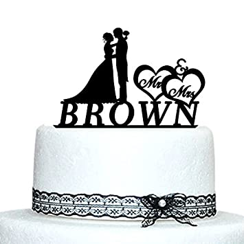 Amazon Mr And Mrs Cake Toppers Personalized Name Wedding Cake