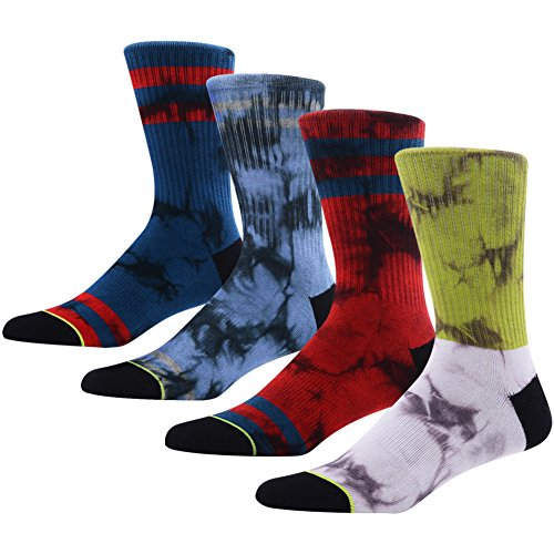 Novelty Dress Socks for Men, MEIKAN Funky Tie Dyed Arch Compression Support Mid Calf Crew Socks 4 Pairs,Color 8,One -