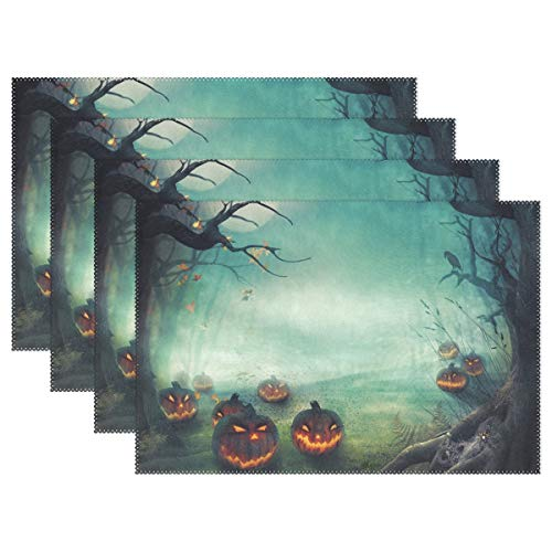 Top Carpenter 6pcs Halloween Forest Pumpkins Placemat - 12x18in - Washable Heat Crease Resistant Printed Place Mat for Kitchen Dinner Table