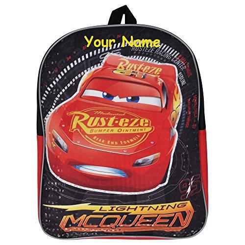 Personalized Disney Pixar Cars 3 Back to School Backpack Book Bag - 15 Inch (Boy Disney Names)
