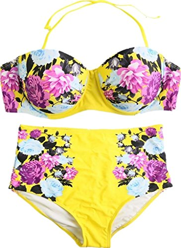 DQdq Women's Swimsuit Bikinis Set Floral Print 2PCS Summer Bathing Suit Yellow (Tile Print Halter Bikini)