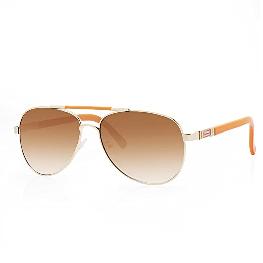 abae2d87495 TWING Designer Women Fashion Aviators Color Frame Accent Templer AV-1417  (Orange)