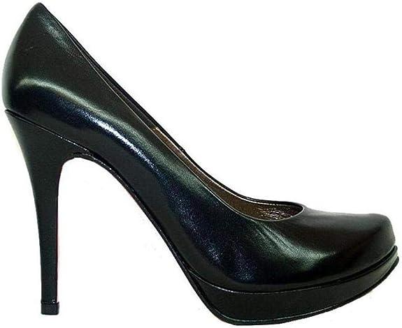 TALLA 36 EU. COPLA - Zapatos Salones de Piel para Mujer con Punta - Tacon Alto Fino de Aguja de 10 cm - Plataforma 2 cm - Forro Piel - Moda Tacones Stilettos Elegantes - Piel