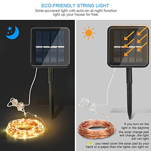 Large Product Image of Moreplus Solar Powered String Lights 100 LED 33ft 8 Modes Copper Wire Lights Indoor/Outdoor Waterproof Decorative String Lights for Patio Garden Wedding Christmas Decor (Warm White, Pack of 2)
