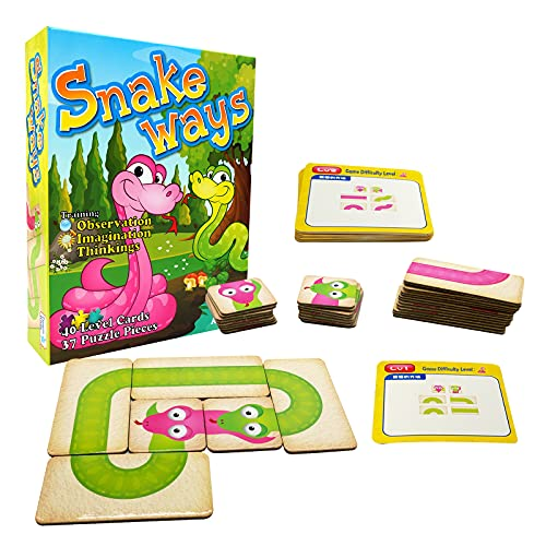 Board Game Snake Way, Puzzle Snakes and Ladders Family Card Game for Kids Ages 3 and Up, for 2-4 Players