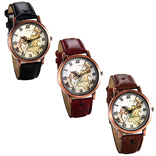 JewelryWe Lot of 3Pcs Leather Wrist Watches World Map Dial Watch Red Black Brown post thumbnail