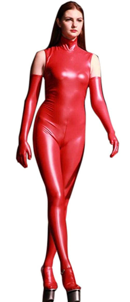 LinvMe Women's Synthetic Latex Sleeveless Jumpsuit Full Body Catsuit