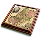 """3dRose trv_79408_1 1759 Copy of The Biblical Map of The Twelve Tribes of Ancient Israel and Palestine Trivet with Ceramic Tile, 8 by 8"""", Brown"""