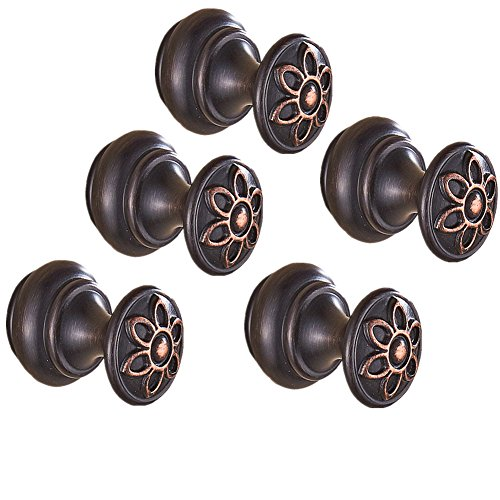 Carved 5 Petal - AUSWIND European Carved Brass Black Oil Bronze Coat Hooks with Six Petal Flower On Head Wall Mount Bathroom Accessories (5 pieces)