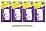 Post-it Tabs, 2 in, Solid, White, Durable, Writable, 25 Tabs/On-The-Go Dispenser, 2 Dispensers/Pack, 4 Packs per Bundle (686F-50WH) - Bundle Includes Plexon Ballpoint Pen