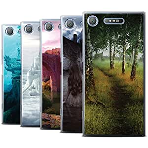 Official Elena Dudina Gel TPU Phone Case / Cover for Sony Xperia XZ1 / Pack 17pcs Design / Fantasy Landscape Collection
