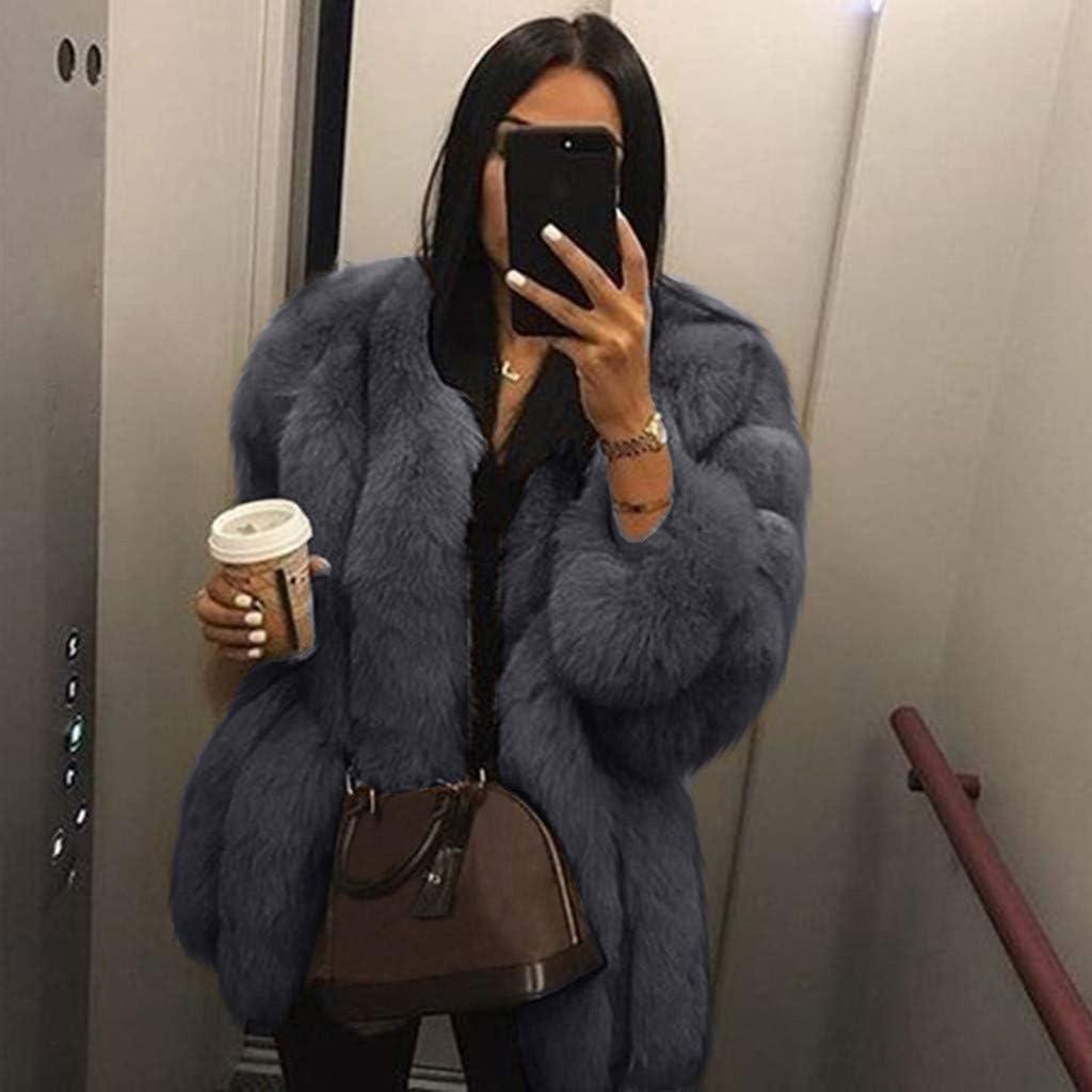 Goodxing Women Long Sleeve Plus Size Short Fluffy Faux Fur Coat Warm Furry Jacket Parka Outwear Big Hooded Elegant
