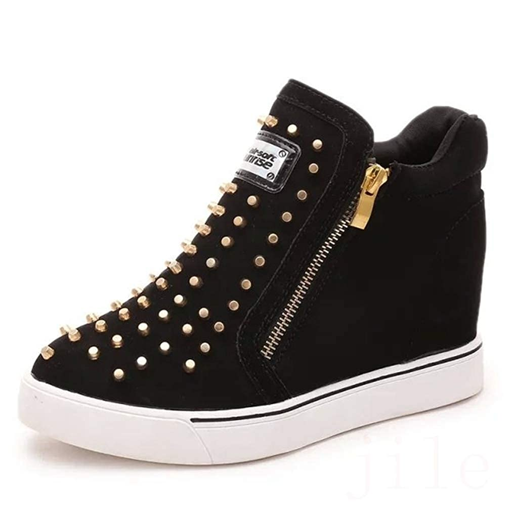 f393d850ef297 CYBLING Women's Platform Sneakers Hidden Wedges Side Zipper High Top Shoes  Studded Ankle Booties
