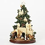Nativity Scene Glitter Musical Light Up Tree 13 Inch Resin Tabletop Display Plays Silent Night