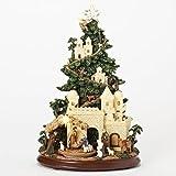 Nativity Scene Glitter Musical Light Up Tree 13 Inch Resin Tabletop Display Plays Silent Night