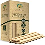 """Naturalik 300-Pack Biodegradable Paper Straws Dye-Free- Brown Kraft Premium Eco-Friendly Paper Straws Bulk- Drinking Straws for Juices, Smoothies, Restaurants and Party Decorations, 7.7"""" (Brown Kraft)"""