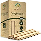Naturalik 300-Pack Biodegradable Paper Straws Dye-Free- Brown Kraft Premium Eco-Friendly Paper Straws Bulk- Drinking Straws for Juices, Smoothies, Restaurants and Party Decorations, 7.7'' (Brown Kraft)